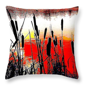 Bullrushes Against The Sunset Throw Pillow