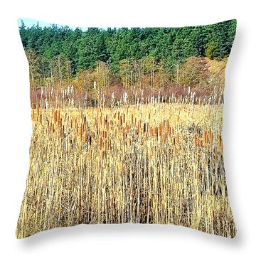 Bullrushes In Late November Throw Pillow