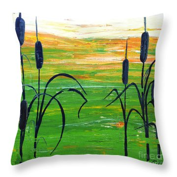 Bullrushes Throw Pillow