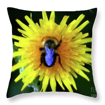 Bullseye Bumblebee Dandelion Throw Pillow