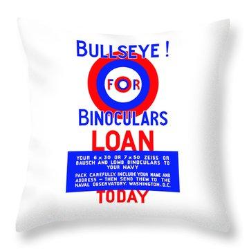 Bullseye For Binoculars Throw Pillow by War Is Hell Store