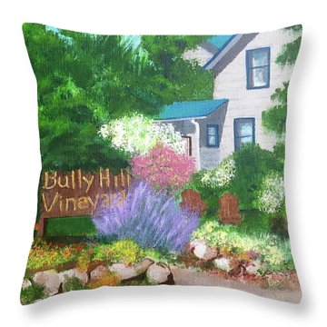Bully Hill Vineyard Throw Pillow by Cynthia Morgan