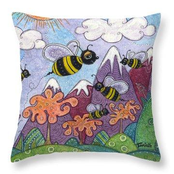 Bumble Bee Buzz Throw Pillow