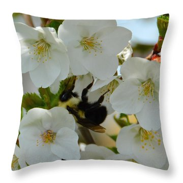 Bumble Bee In Hiding Throw Pillow