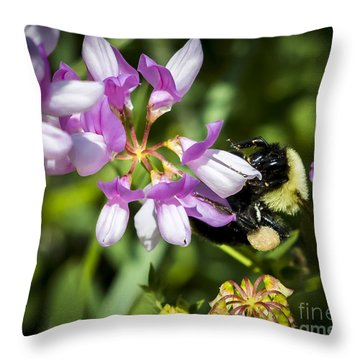 Throw Pillow featuring the photograph Bumble Bee Pollinating A Flower by Ricky L Jones