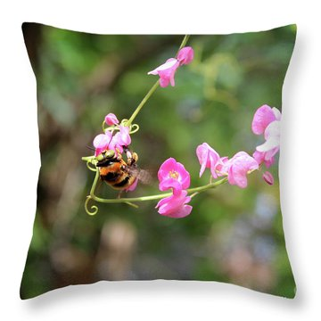 Throw Pillow featuring the photograph Bumble Bee1 by Megan Dirsa-DuBois