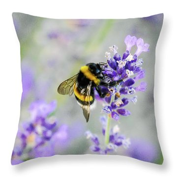 Throw Pillow featuring the photograph Bumblebee by Bee-Bee Deigner
