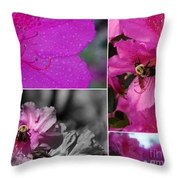 Bumblebee Bonanza Throw Pillow by Priscilla Richardson