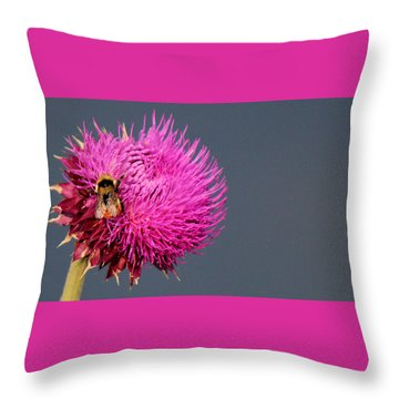 Bumblebee On Pompom Throw Pillow