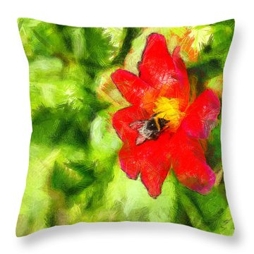 Bumblebee On The Flower - Da Throw Pillow