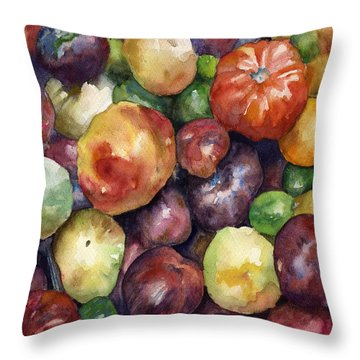 Bumper Crop Of Heirlooms Throw Pillow by Anne Gifford