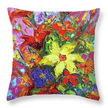 Throw Pillow featuring the painting Colorful Wildflowers, Abstract Floral Art by Patricia Awapara