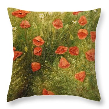 Bunch Of Poppies Throw Pillow