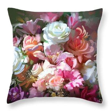 Bunch Of Roses Throw Pillow