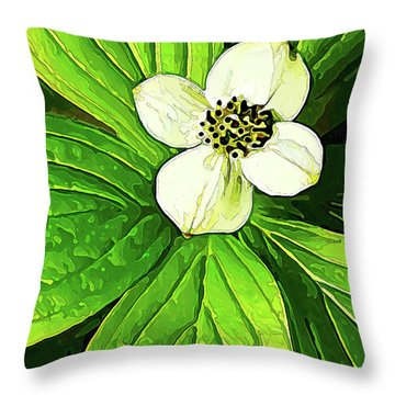 Bunchberry Blossom Throw Pillow