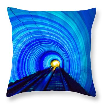 Throw Pillow featuring the photograph Bund Tunnel Lights by Angela DeFrias