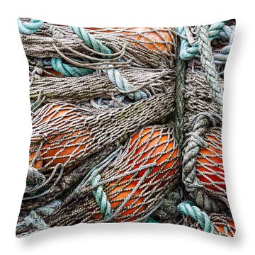 Bundle Of Fishing Nets And Buoys Throw Pillow