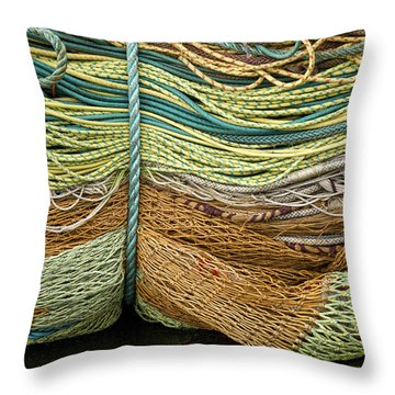 Bundle Of Fishing Nets And Ropes Throw Pillow