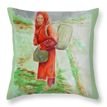 Bundled And Barefoot -- Portrait Of Old Asian Woman Outdoors Throw Pillow