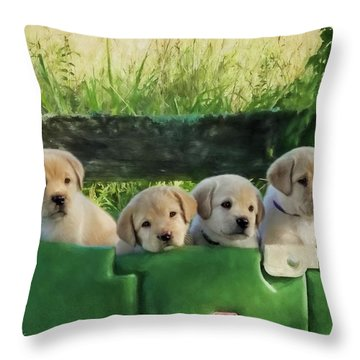 Bundles Of Joy - Labrador Art Throw Pillow