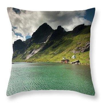Bunesfjord And Mountains Throw Pillow