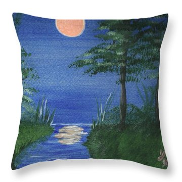 Bunnies In The Garden At Midnight Throw Pillow