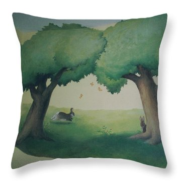 Bunnies Running Under Trees Throw Pillow
