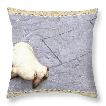 Baby Chases Bunny Throw Pillow