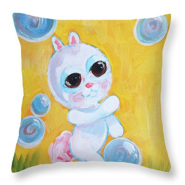 Bunny And The Bubbles Painting For Children Throw Pillow by Shelley Overton