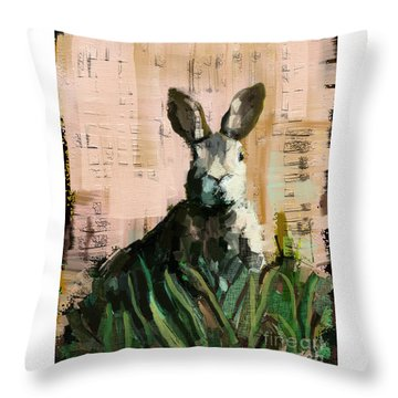 Throw Pillow featuring the mixed media Bunny by Carrie Joy Byrnes