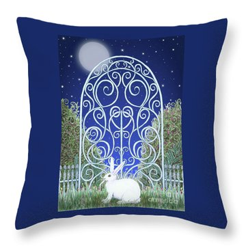 Bunny, Gate And Moon Throw Pillow