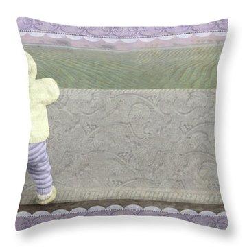 Bunny Hops Away Throw Pillow