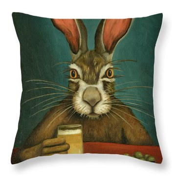 Throw Pillow featuring the painting Bunny Hops by Leah Saulnier The Painting Maniac