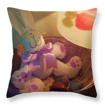 Bunny In A Basket Throw Pillow