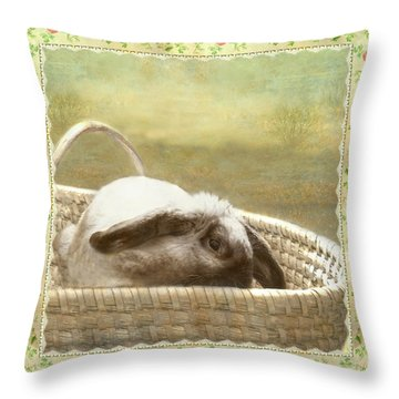 Bunny In Easter Basket Throw Pillow