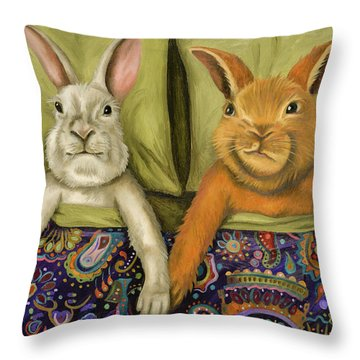 Throw Pillow featuring the painting Bunny Love by Leah Saulnier The Painting Maniac
