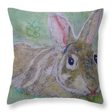 Throw Pillow featuring the drawing bunny named Rocket by AJ Brown