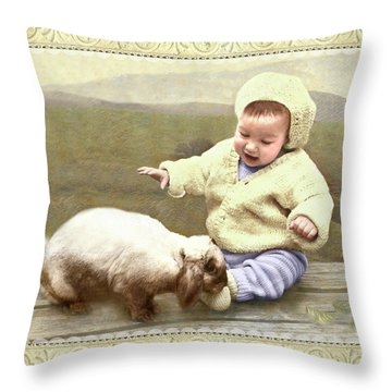 Bunny Nuzzles Baby's Toes Throw Pillow