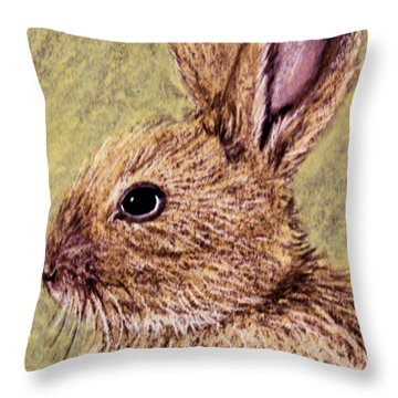 Bunny Profile Throw Pillow by Jan Amiss