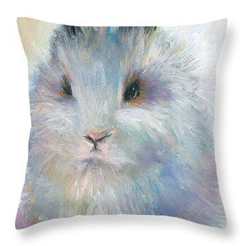 Bunny Rabbit Painting Throw Pillow by Svetlana Novikova