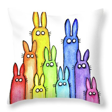 Bunny Rabbits Watercolor Rainbow Throw Pillow by Olga Shvartsur