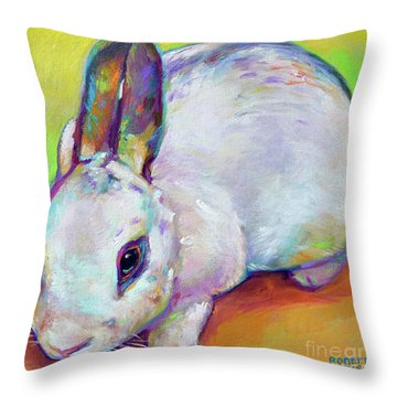 Throw Pillow featuring the painting Bunny by Robert Phelps