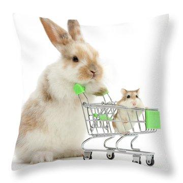 Bunny Shopping Throw Pillow