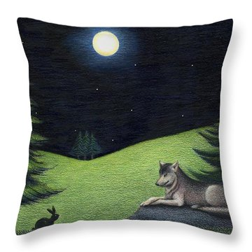 Bunny Visits Wolf Throw Pillow
