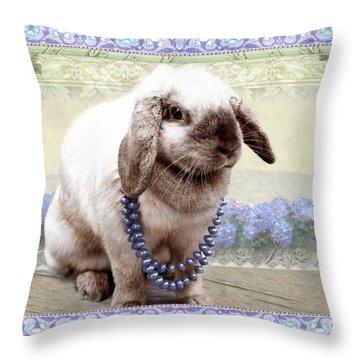 Bunny Wears Beads Throw Pillow