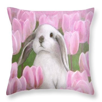 Bunny With Tulips Throw Pillow