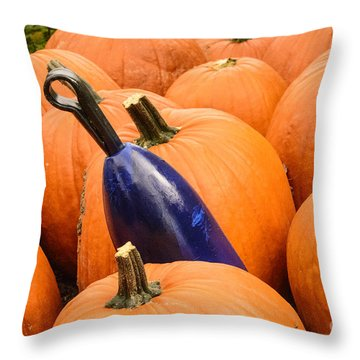 Buoy And Pumpkins Throw Pillow