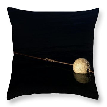 Throw Pillow featuring the photograph Buoy At Night by Stephen Mitchell
