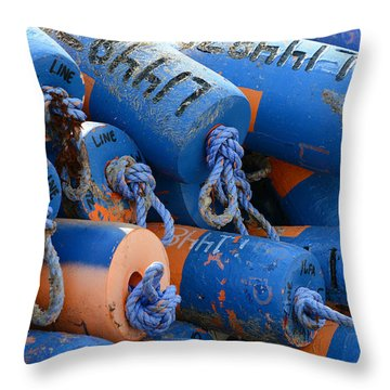 Buoy Colors Throw Pillow by Fraida Gutovich