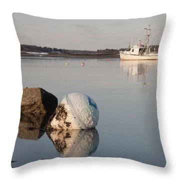 Throw Pillow featuring the photograph Buoy Reflection by Kirkodd Photography Of New England